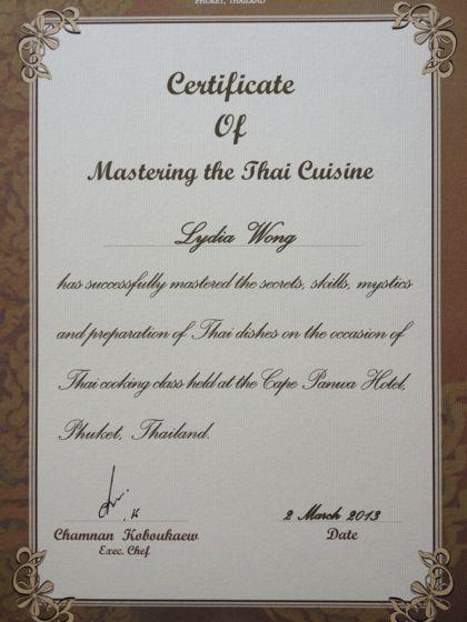 Thai cooking class cert