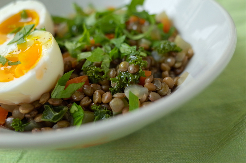 lentil stew with kale and egg recipe