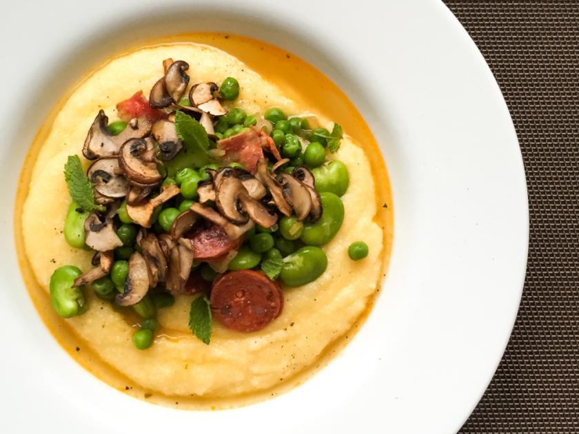 Broad Beans, Peas and chorizo polenta
