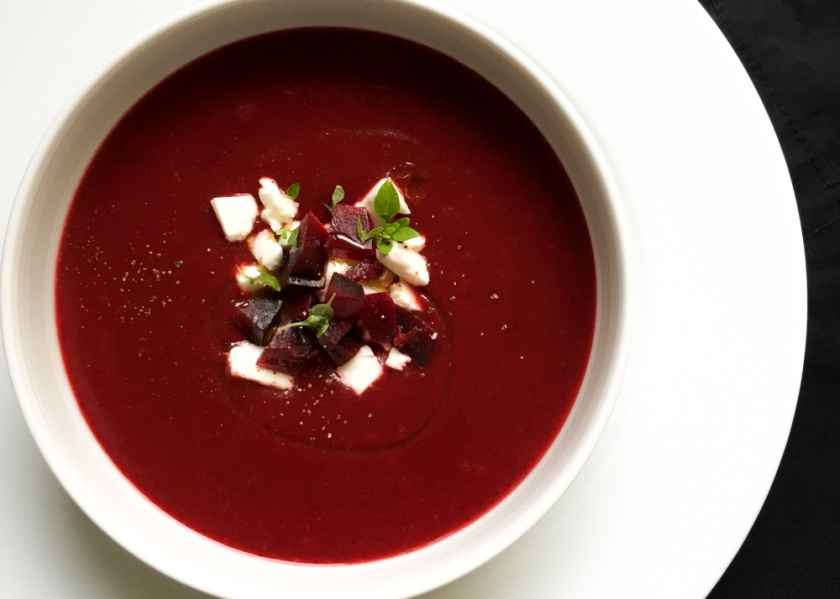beetroot soup with feta cheese