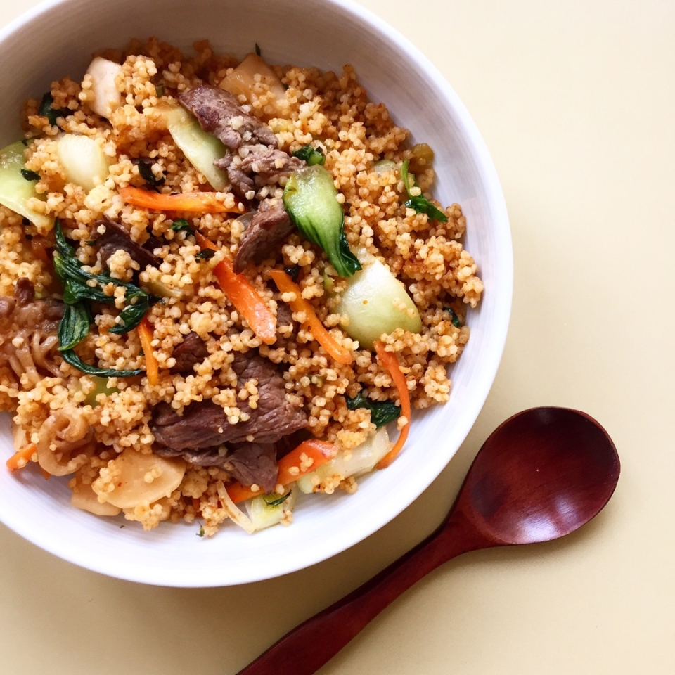 kimchi fried millet with beef and pak-choi recipe