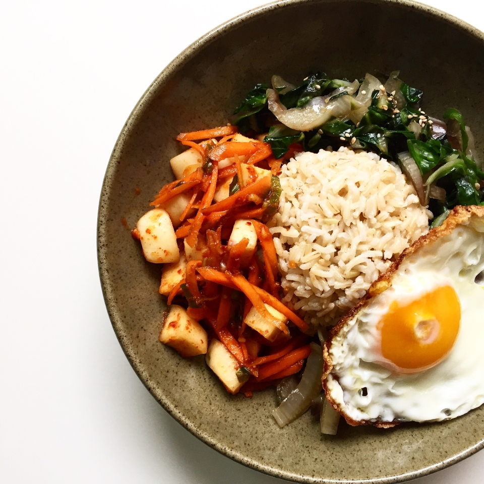 kimchi, swiss chard with ginger and sesame, egg rice bowl recipe