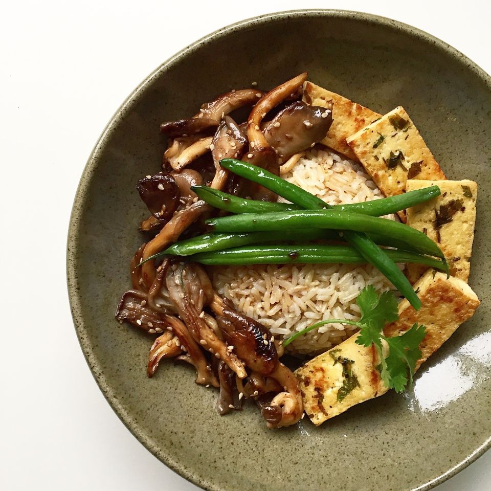 mushroom, green bean, tofu rice bowl recipe