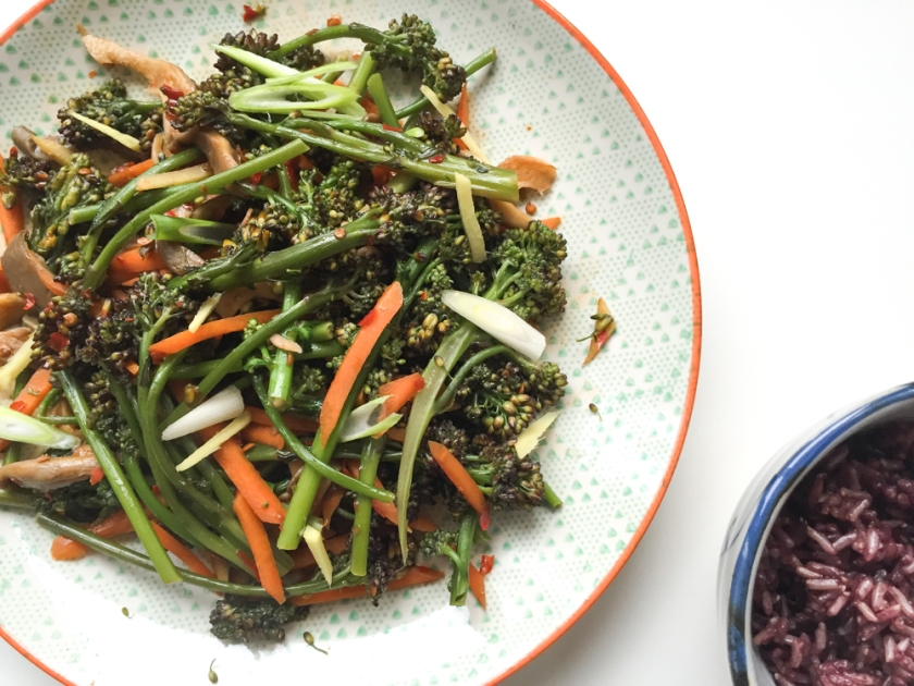 quick fried broccolini and oyster mushrooms in chili bean sauce recipe