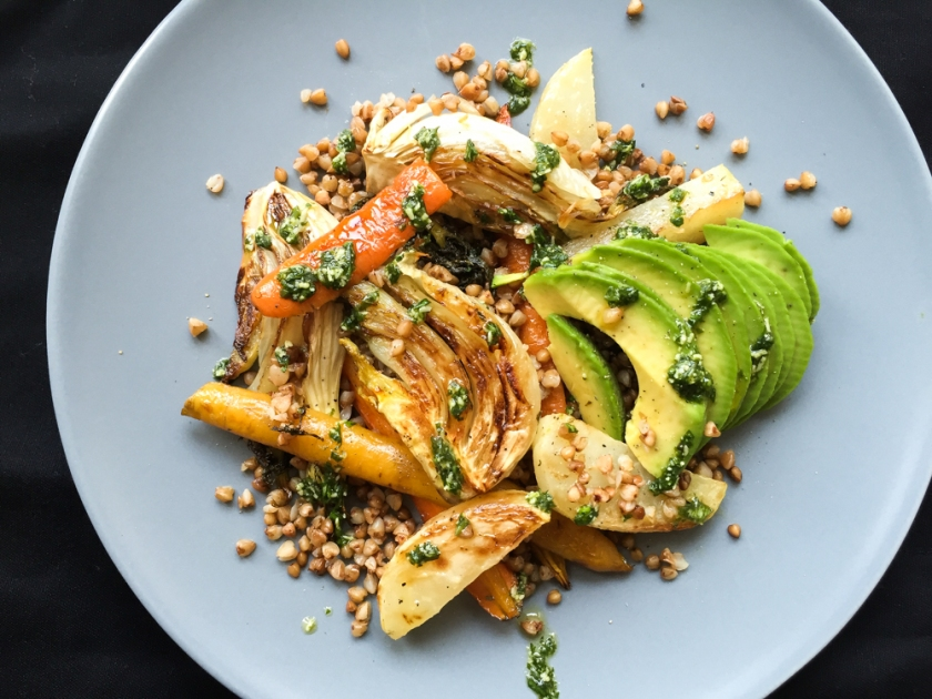 roasted root veggies, avo and buckwheat salad recipe