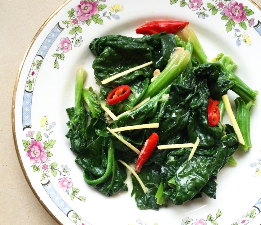 Sauteed Spinach with Preserved Bean Curd recipe