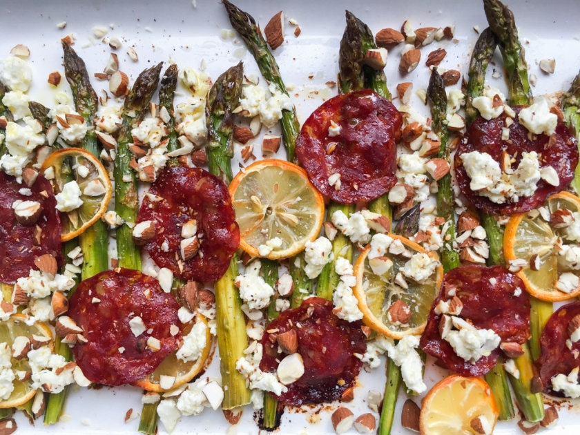 roasted asparagus, lemon, chorizo and feta recipe