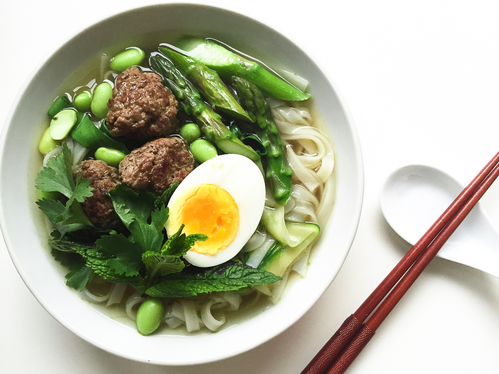 Pho with meatballs recipe