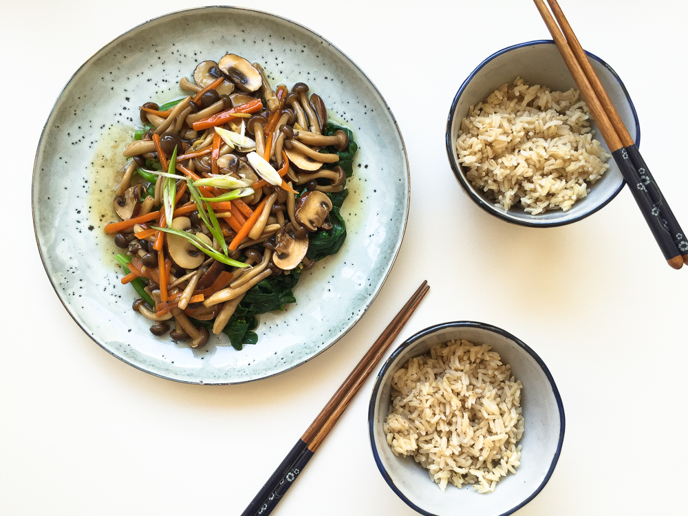 Braised Mixed Mushrooms with Chinese Greens recipe