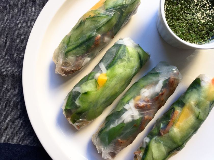 Beef and Mango Summer Rolls with Coriander Dipping Sauce recipe