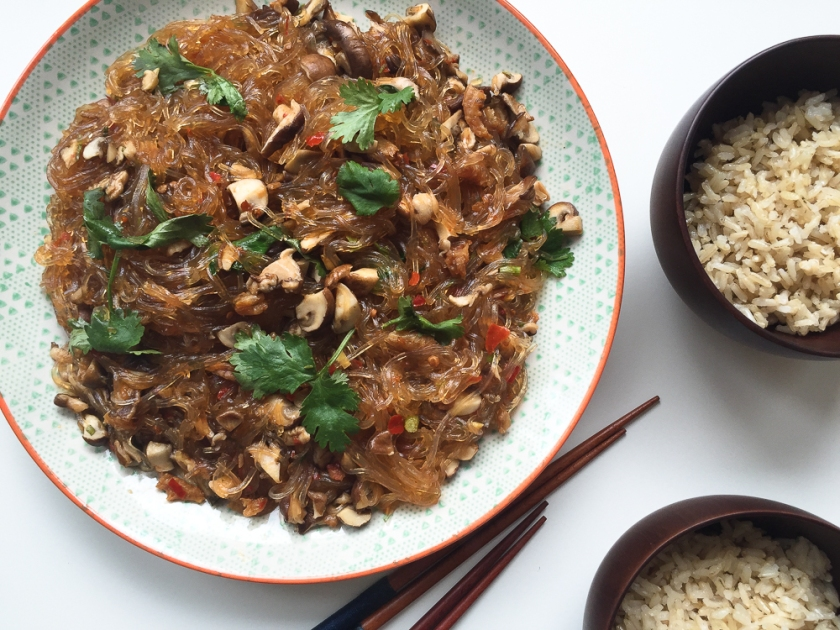 braised mushroom and glass noodles with chili bean sauce recipe