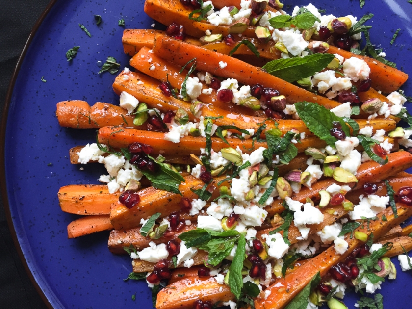 Roasted za'atar carrot with goat cheese, pistachio and promagranate dressing recipe