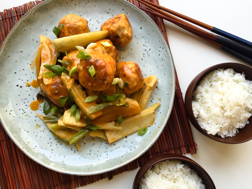 Braised Chicken Meatballs and Fennel with Miso Gochujang recipe