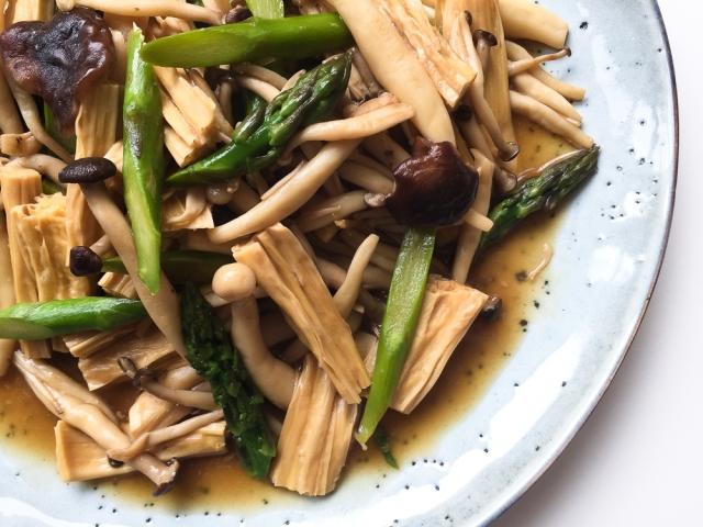 Braised Yuba With Mixed Mushrooms And Asparagus Ginger Chorizo