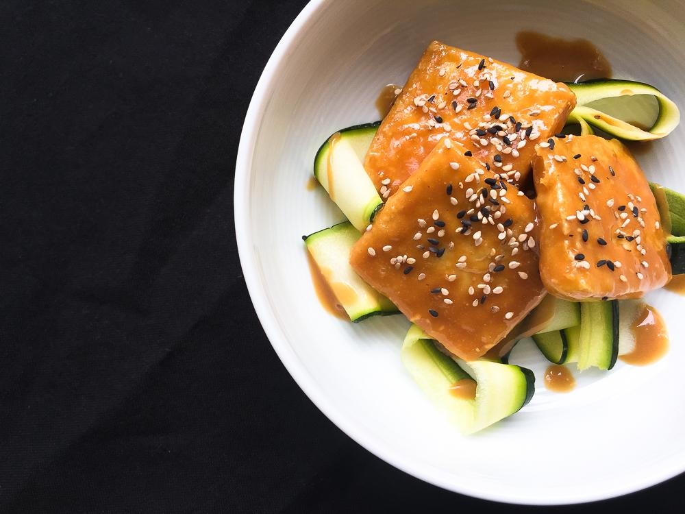 Tamari Peanut Tofu with Courgette Ribbons recipe