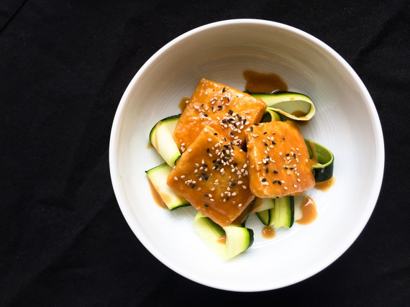 Tamari Peanut Tofu with Courgette Ribbons recipe