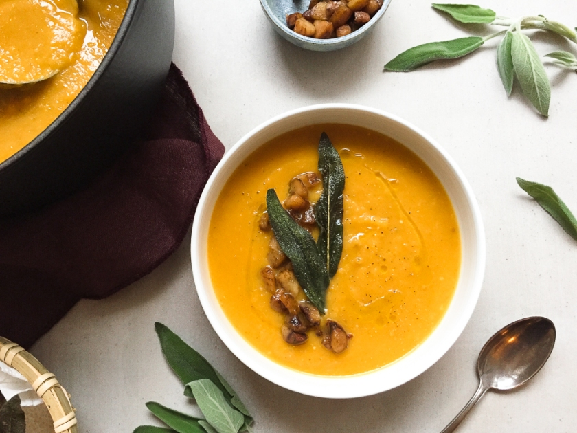 Roasted Butternut Squash, Chestnut Miso Soup recipe