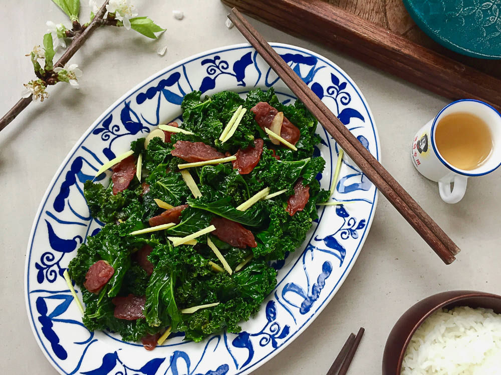 Sautéed Chinese Sausage and Kale recipe