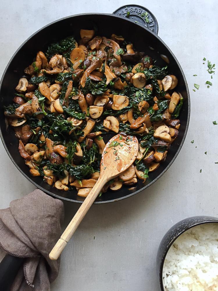 Spicy Mushroom and Kale Stir-Fry recipe