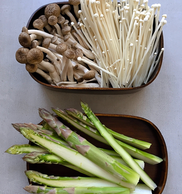 Kimchi Miso Soup with Asparagus, Mushroom and Black Bean Noodle recipe