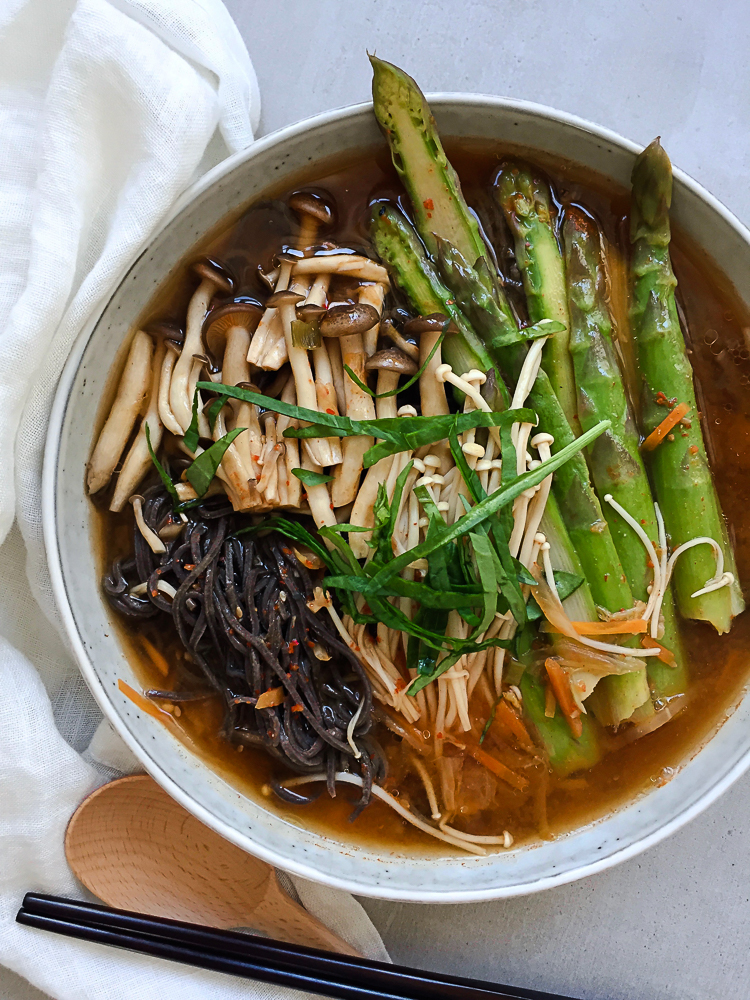 Kimchi Miso Soup, Asparagus, Mushroom, Black Bean Noodle recipe