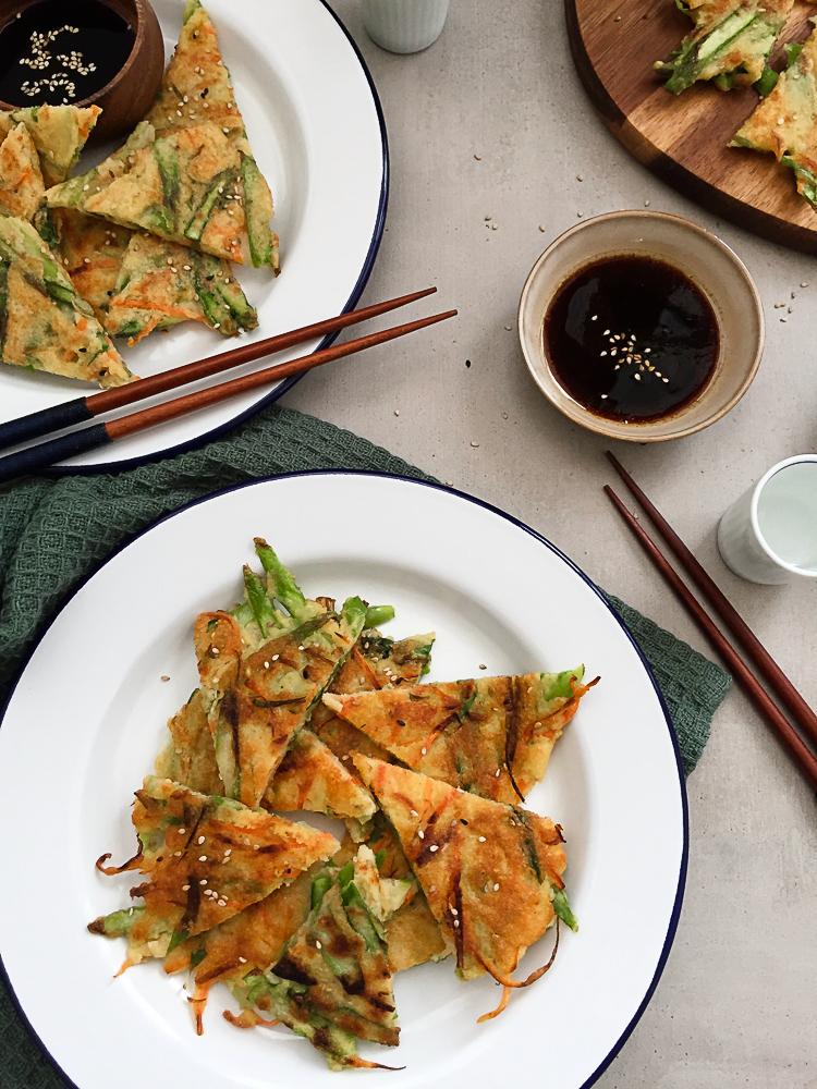 Mung Bean Pancakes with Spring Vegetables recipe
