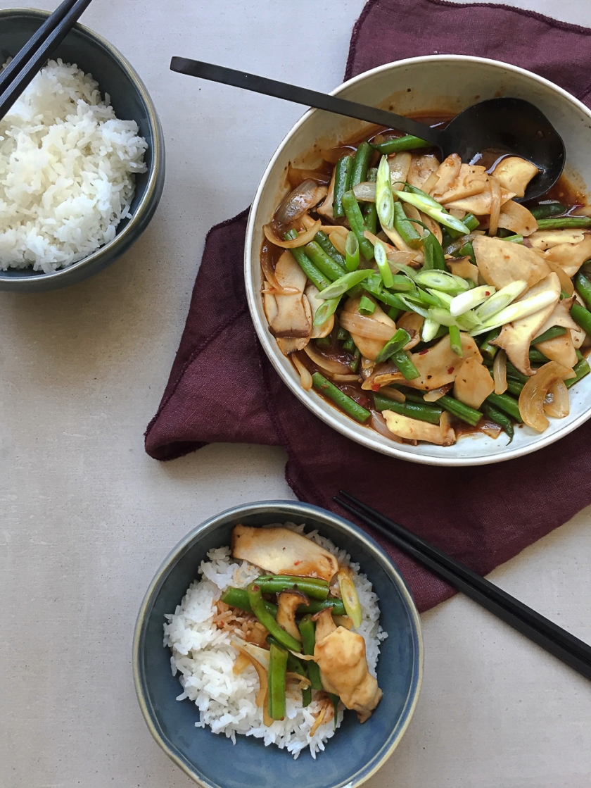 Spicy King Oyster Mushroom and Green Bean Stir-Fry recipe