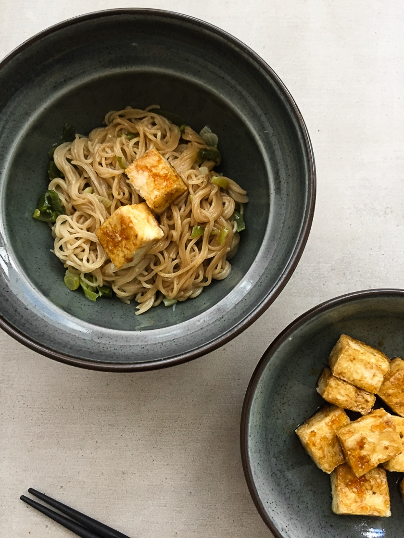 Ginger Spring Onion Ramen with Crispy Tofu recipe