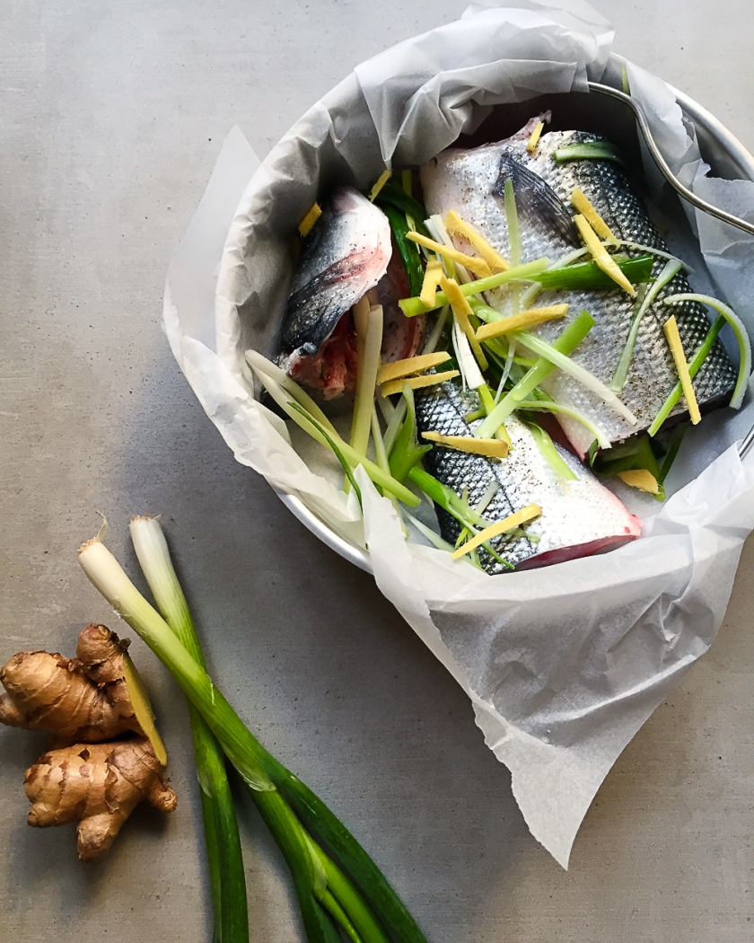 Steamed Sea Bass with Ginger and Spring Onions recipe