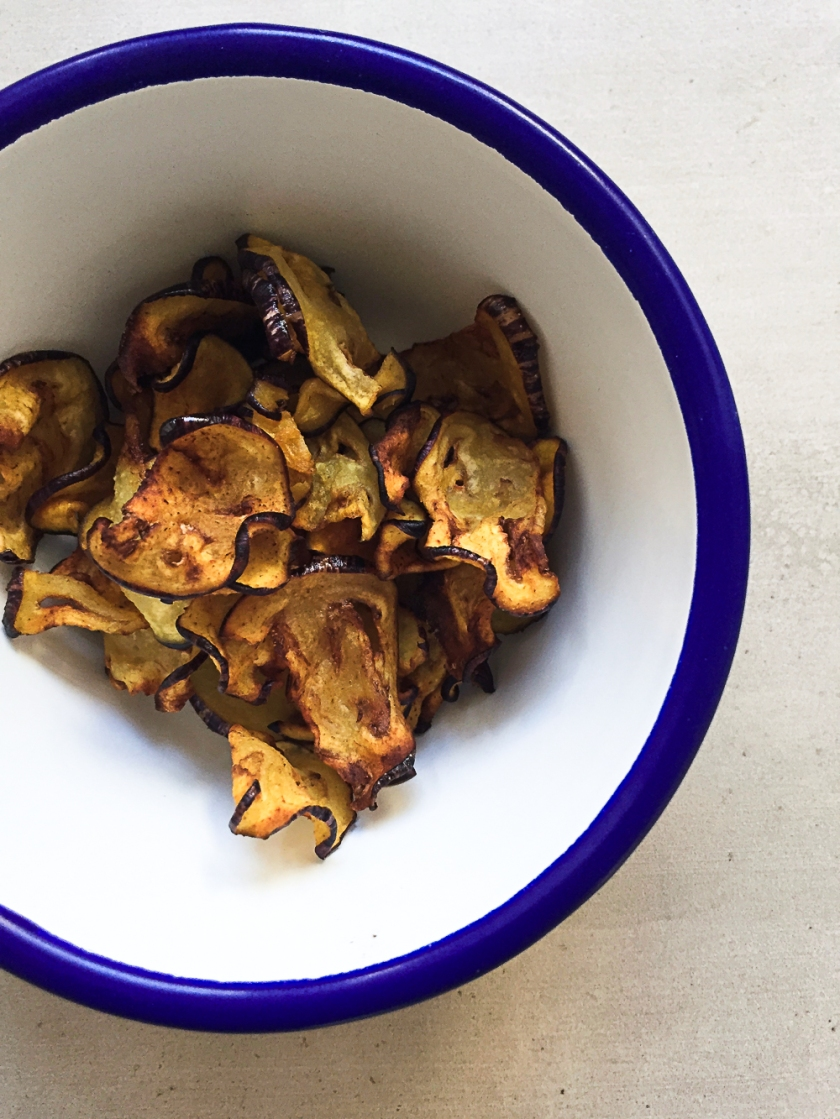 Thai Inspiried Coconut Mushroom Soup with Crispy Turmeric Aubergine recipe