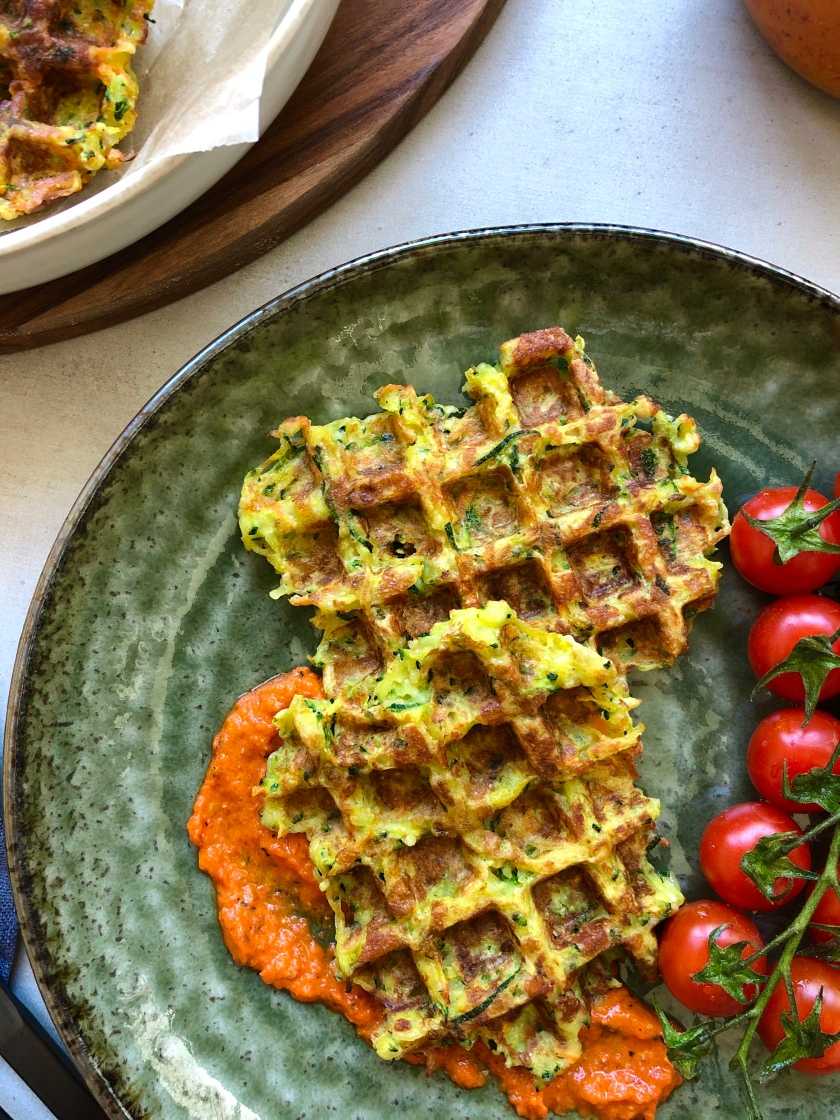 Courgette and Halloumi Waffles recipe