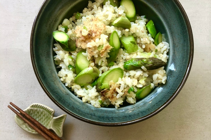 asparagus fried rice with crispy ginger recipe