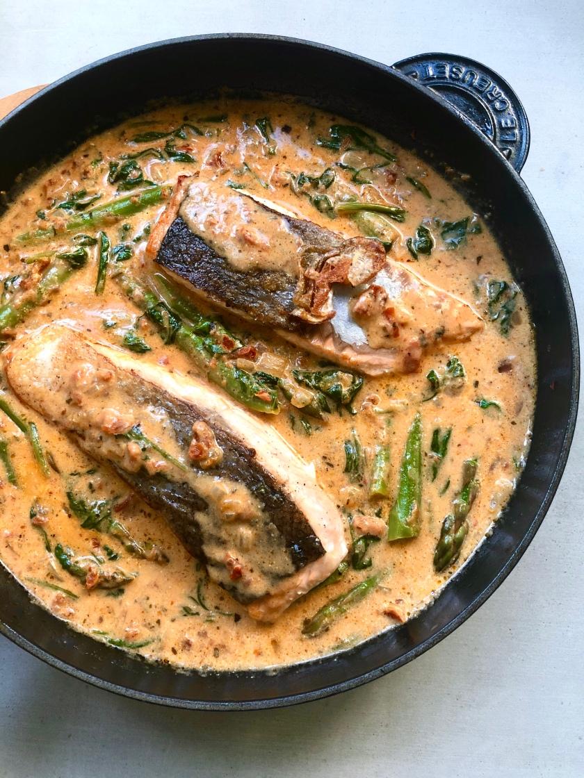creamy mushroom and asparagus with salmon