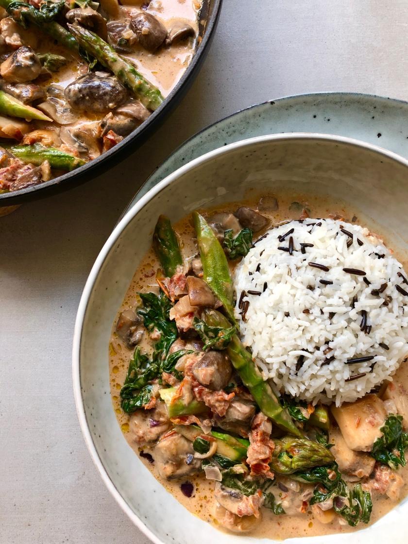 creamy mushroom and asparagus with wild rice recipe