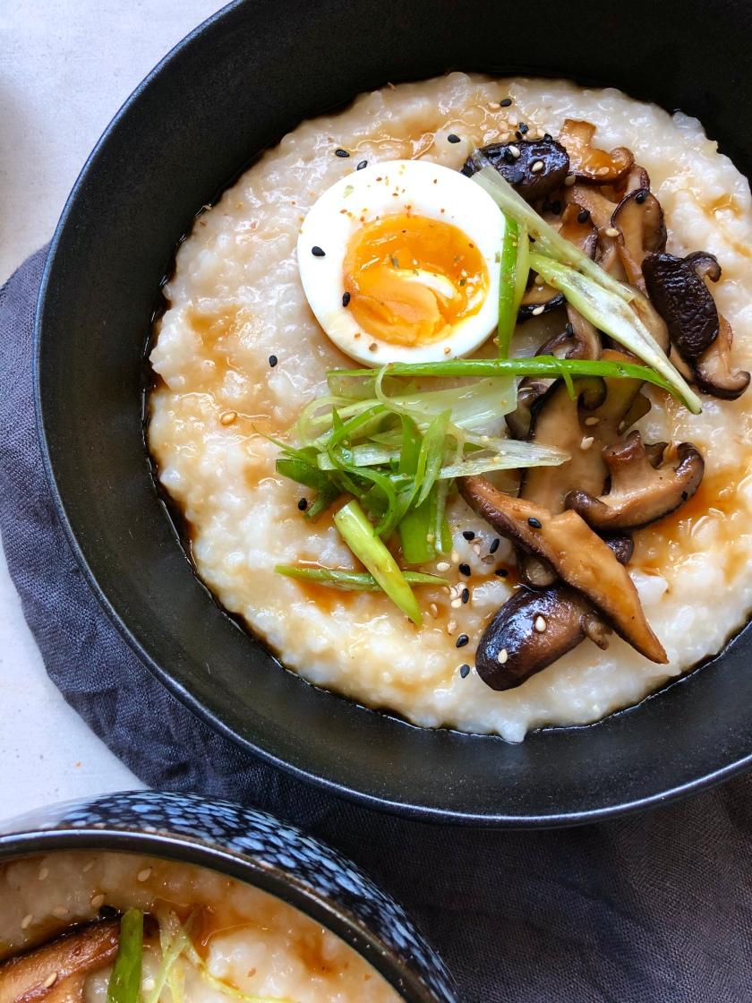 Miso Congee with Tarami Shiitake Jammy Egg, spicy sesame spring onion recipe